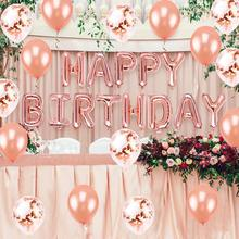 Rose Gold Birthday Party Decoration Fringe Tinsel Curtains Sequin Table Runner Confetti Balloons Happy Birthday Foil Ballons metallic rose gold confetti wedding birthday happy birthday table decoration colorful star foil confetti party supplies