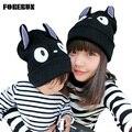 2016 Grande Totoro Tampas para Crianças Chifre de BOI Dos Desenhos Animados Chapéus de Inverno para meninos Quente Tampão Feito Malha para Menina Crianças Gorros Chapéu com Orelhas de Gato