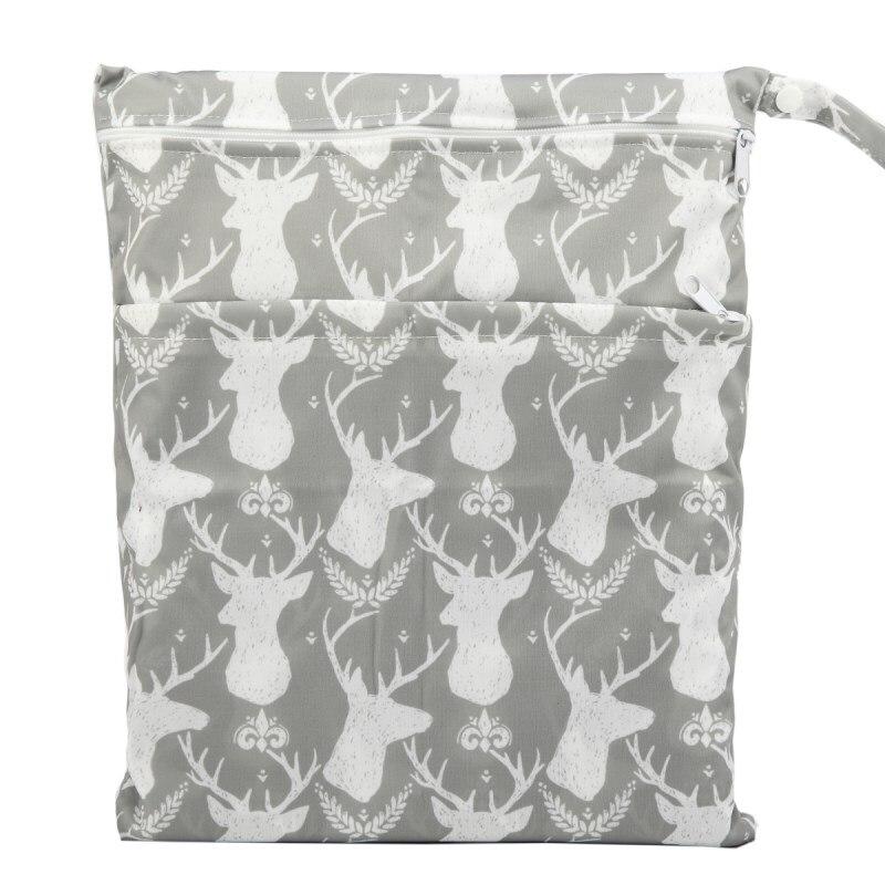 [Sigzagor] 1 Влажная сухая сумка с двумя молниями для детских подгузников, водонепроницаемая сумка для подгузников, розничная и, 36 см x 29 см, на выбор 1000 - Цвет: WH38 grey deer