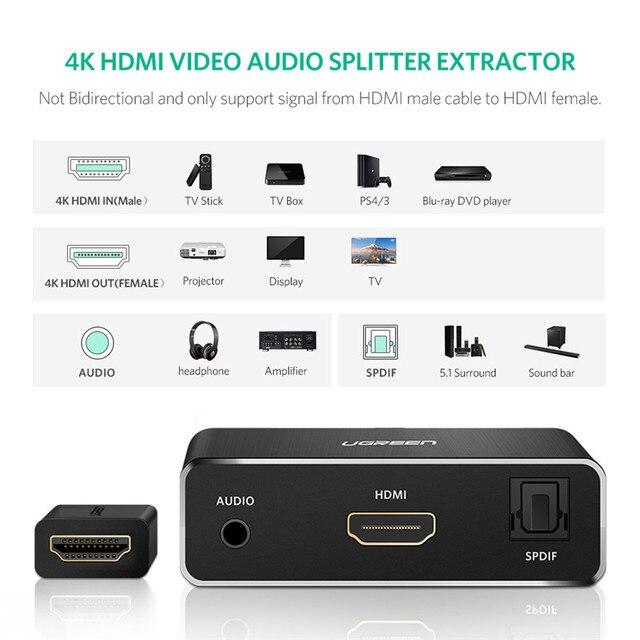 Ugreen ekstraktor dźwięku HDMI SPDIF optyczny Toslink Audio ekstraktor-konwerter HDMI rozdzielacz Audio 3.5mm Adapter gniazda Jack przełącznik HDMI