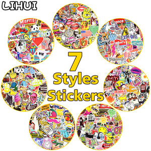100 PCS Classic Fashion Graffiti Stickers Retro Cool Funny Sticker for Laptop Luggage Motorcycle Phone Skateboard Car JDM Decals