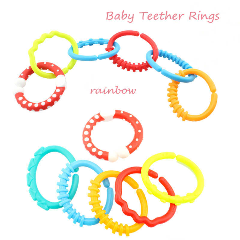 6Pcs Baby Teether Rings Toy Rainbow Colorful Chewing Toothbrush Crib Bed Stroller Hanging 0-12 Months Educational Toys