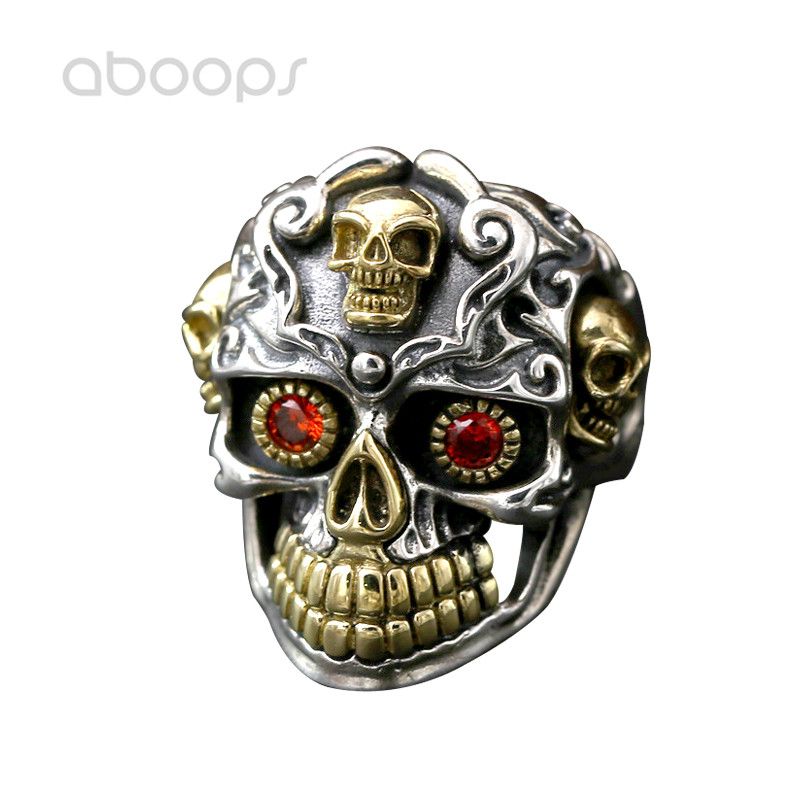 Gothic Two Tone 925 Sterling Silver Skull Open Ring for Men Boys Adjustable Free Shipping цены онлайн