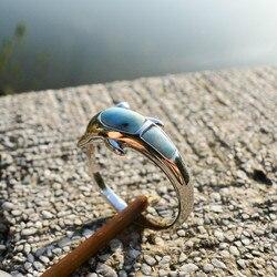 DJ CH Delphin Fisch Tier Freundschaft Ring, 925 Sterling Silber Ring Band Inlay Larimar Edelstein, ozean Sea Schmuck Ringe