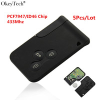 Okeytech 5pcs Lot High Quality For Smart Remote Key 433 MHz With Chip ID46 For Renault