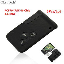 Okeytech 5pcs/lot High Quality For Smart Remote Key 433 MHz With Chip ID46 For Renault Megane Scenic Smart Card Fob 3 Buttons fs 7701039565 7702127213 for renault megane