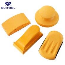 5 Cal szlifowanie blok gumowy hak pętli podkładka do polerki papier ścierny uchwyt ręczny szlifowanie bloku narzędzia do polerowania