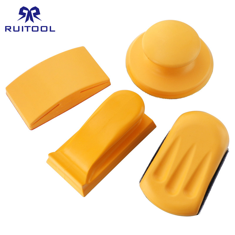 5 Inch Sanding Block Rubber Hook Loop Backing Pad Sandpaper Holder Hand Grinding Block Polishing Tools