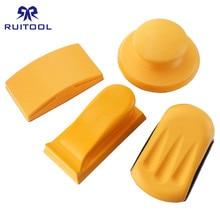 5 אינץ מלטש בלוק גומי וו לולאה גיבוי Pad נייר זכוכית מחזיק יד טחינת בלוק ליטוש כלים