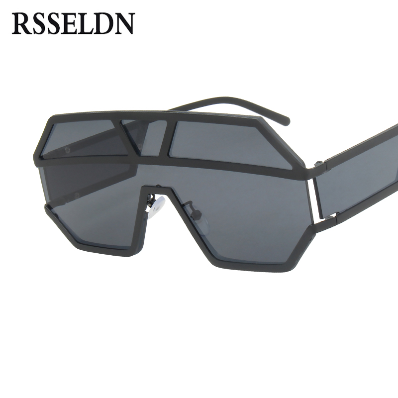 053477b69ad Detail Feedback Questions about RSSELDN Oversized Sunglasses Men big frame metal  One Piece Lens Sun glasses For Women Fashion shields Goggle Oculos UV400 on  ...