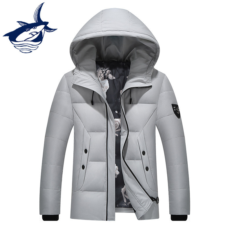Fashion Design Tace & Shark Brand Down Jacket Men Solid Hooded Winter Jackets Mens White Duck Down Overcoat