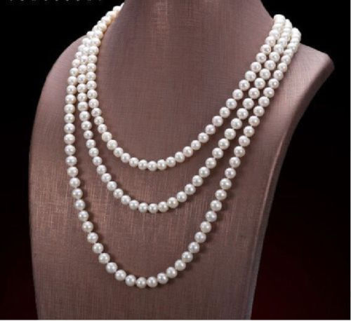50 AAA 7-8MM AAA NATURAL freshwater WHITE PEARL NECKLACE 925silver GOLD CLASP huge elegant 15 mm freshwater black pearl necklace 18 inch 925silver clasp