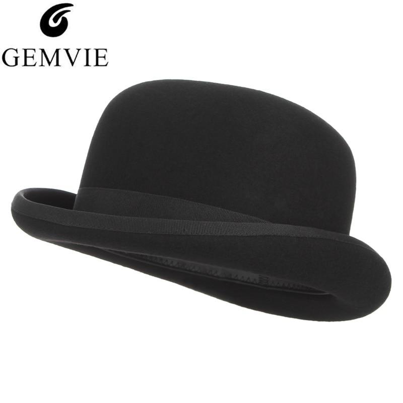182600f6a193 British Style Top Hat Men Women Cosplay Magician Hat Wool Felt Cap Vintage  Dome President Cap