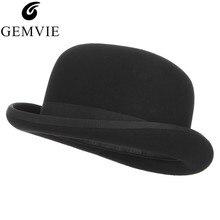 GEMVIE 4 размера Шерсть Войлок черный Дерби котелок шляпа для мужчин женщин атласная Подкладка модные вечерние Формальные Fedora Костюм Шляпа Волшебника