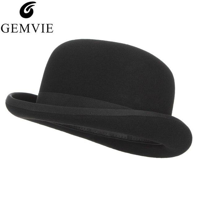 100% Wool Felt Black Derby Bowler Hat