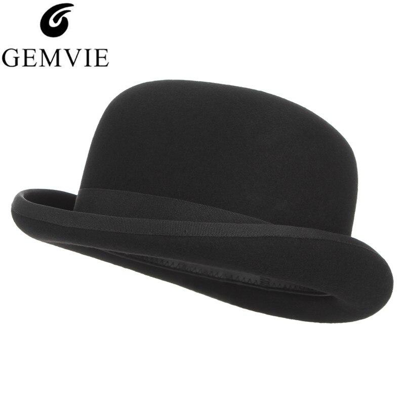 GEMVIE 4 размера 100% Шерсть Войлок черный Дерби котелок шляпа для мужчин женщин атласная Подкладка модные вечерние Формальные Fedora Костюм Шляпа Волшебника-in Мужские фетровых from Аксессуары для одежды on AliExpress - 11.11_Double 11_Singles' Day
