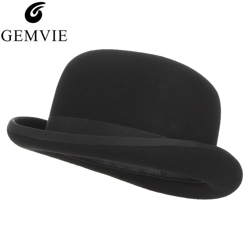 GEMVIE 4 Sizes 100% Wool Felt Black Derby Bowler Hat For Men Women Satin Lined Fashion Party Formal Fedora Costume Magician Cap