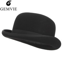 GEMVIE 4 Sizes 100% Wool Felt Black Derby Bowler Hat For Men Women Satin Lined Fashion Party Formal
