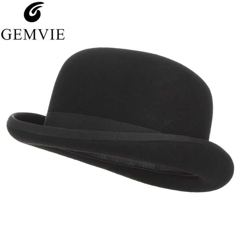 GEMVIE 4 tamaños 100% lana fieltro negro Derby Bowler sombrero para hombres mujeres satén forrado moda fiesta Formal Fedora disfraz mago tapa