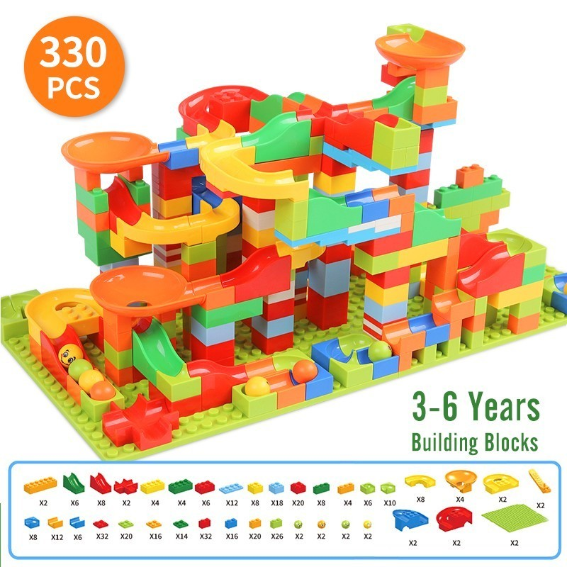165-330PCS Marble Race Run Maze Ball Track Building Blocks Plastic Funnel Slide Minisize Bricks Compatible Legoingly Duplo Block
