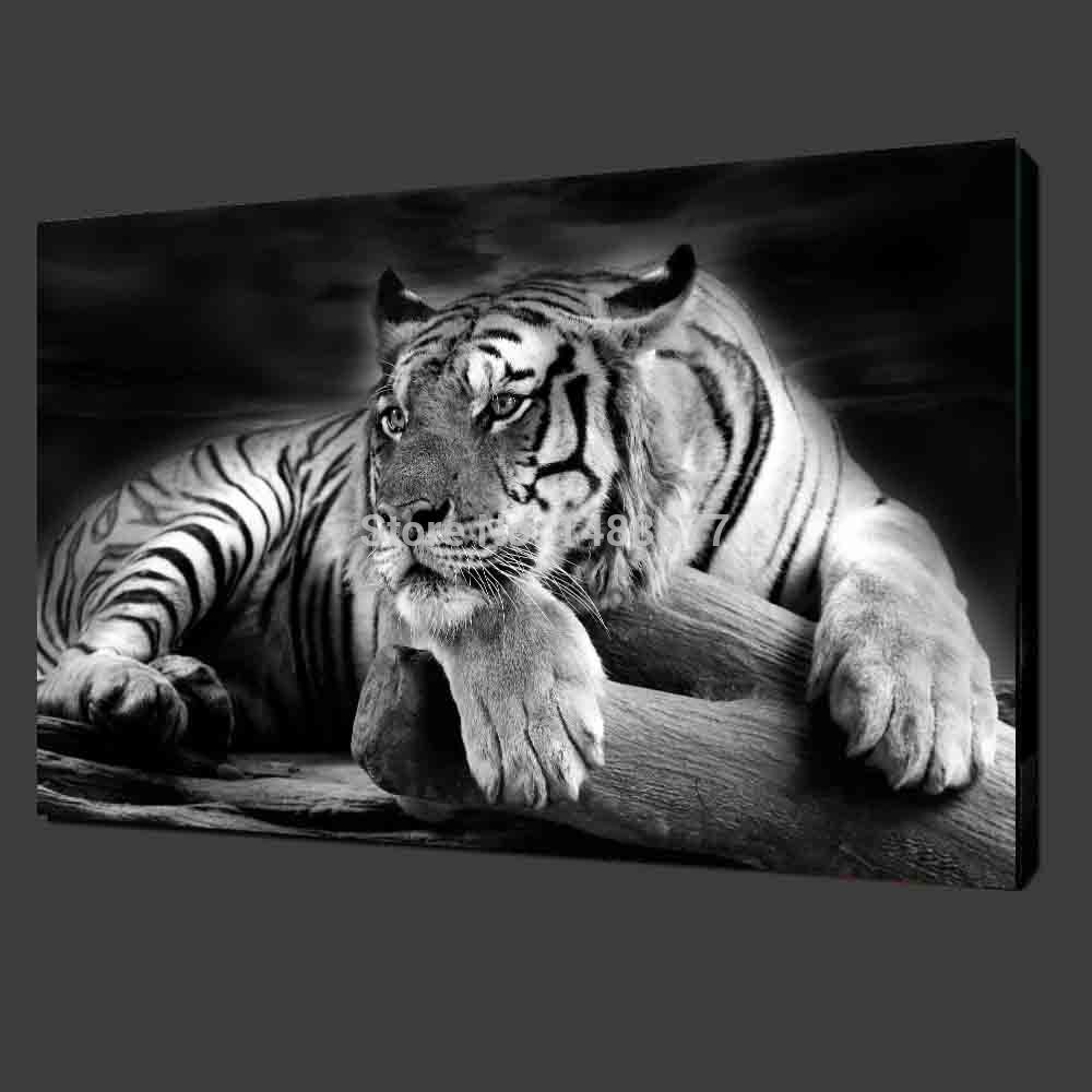Free Shipping Hot Sell Modern Wall Painting Animal Black And White Tiger Home Decorative Art Picture Paint On Canvas Prints In Calligraphy From