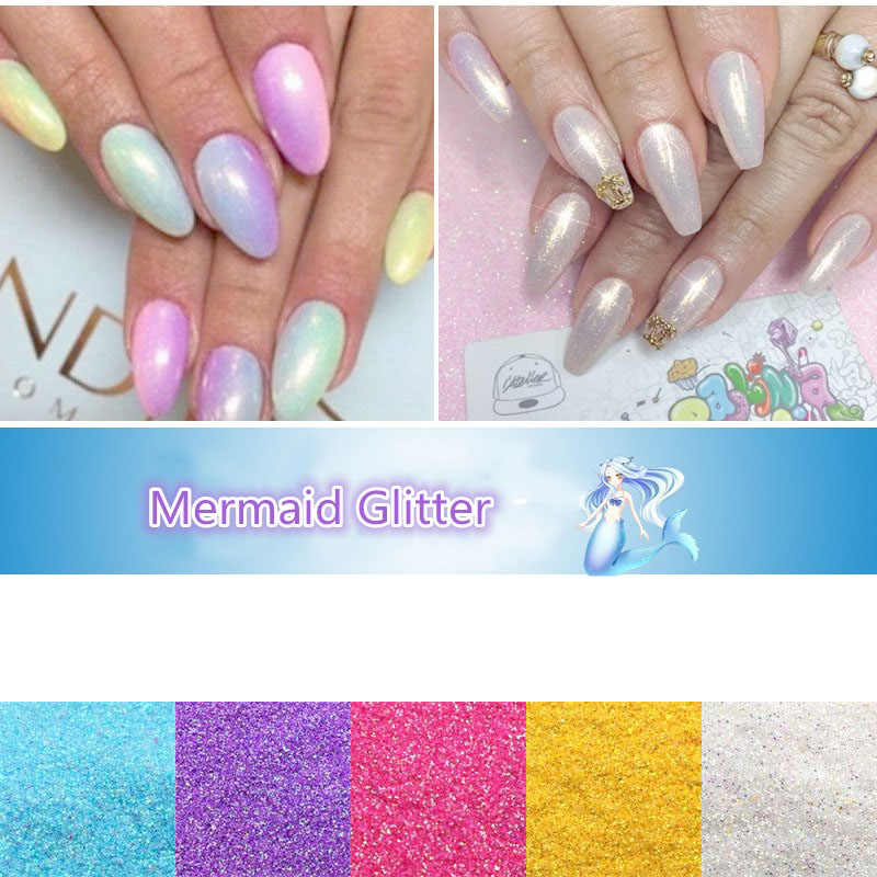 10g sihirli Mermaid etkisi Glitter toz Pretty degrade pırıltılı Pigment toz lazer jel UV Nail Art İpuçları dekorasyon DIY manikür
