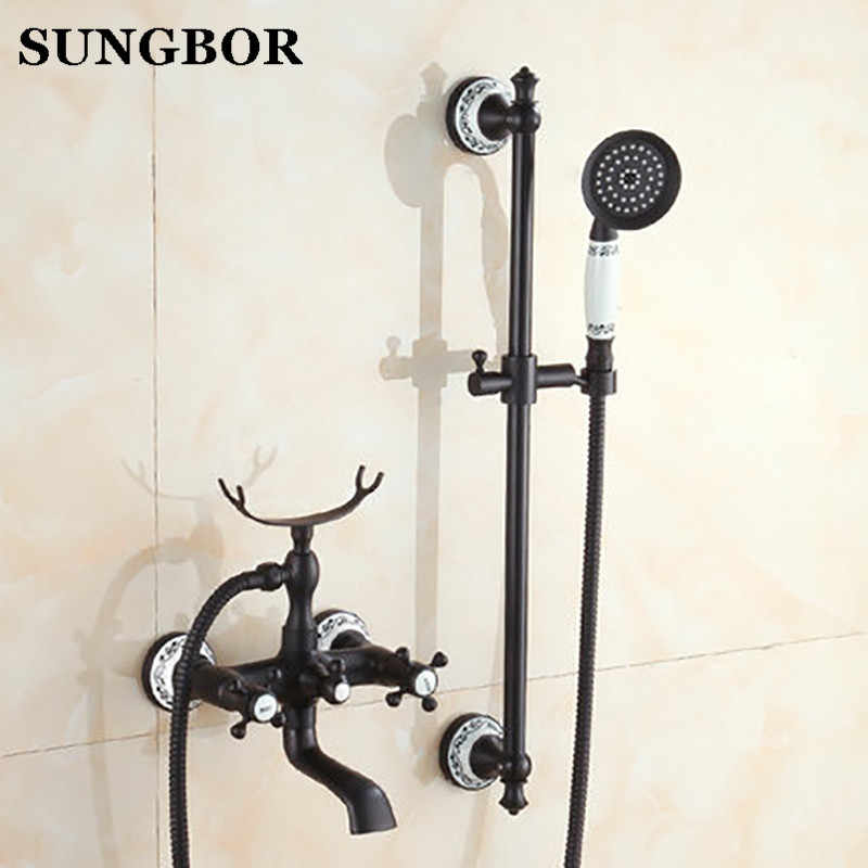 黒 brone 蛇口シャワーミキサー磁器シャワー蛇口浴室電話風呂の蛇口ハンドシャワー浴室のシャワーをタップ