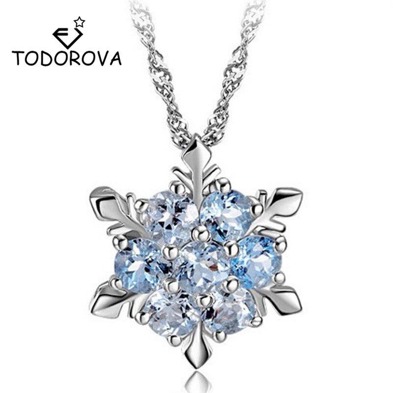 Todorova Luxury Snowflake CZ Stone Necklaces & Pendants Fashion Chain Cubic Zirconia for Women Gift choker collar