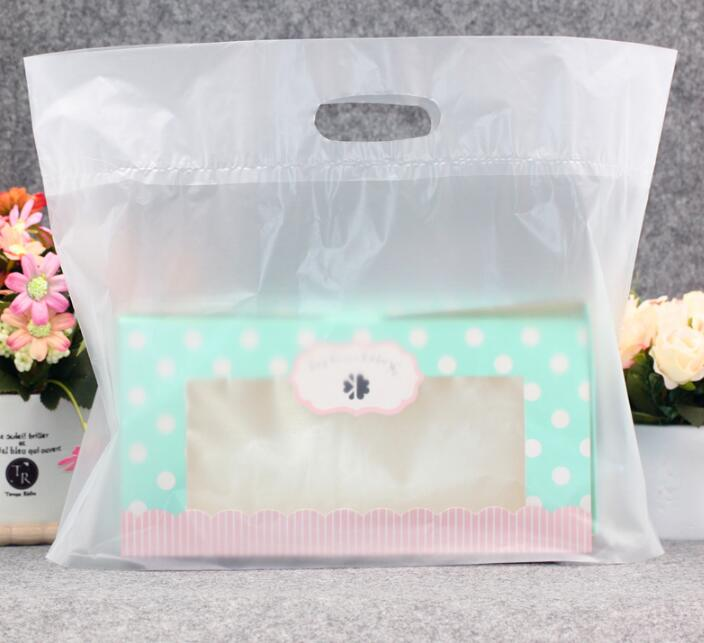50pcs 27x21cm Clear/Plastic Shopping Bag with Handle Favor ...