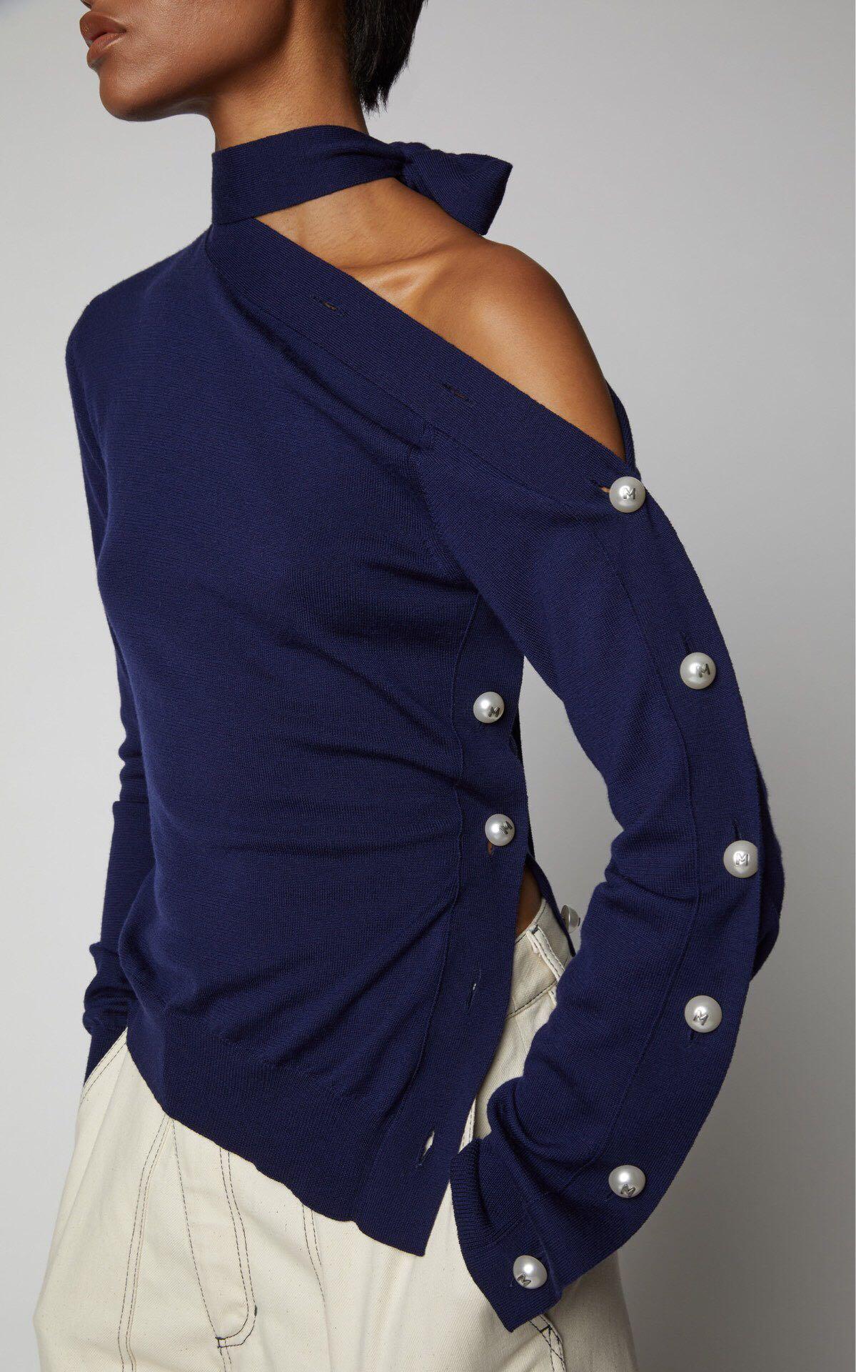 Inclinée Choker Conception Pull Bleu Femmes De Hiver Ornement Nouvelle En Fermoir L'épaule Perle Laine Féminin Effet blanc zUVjLqSMpG