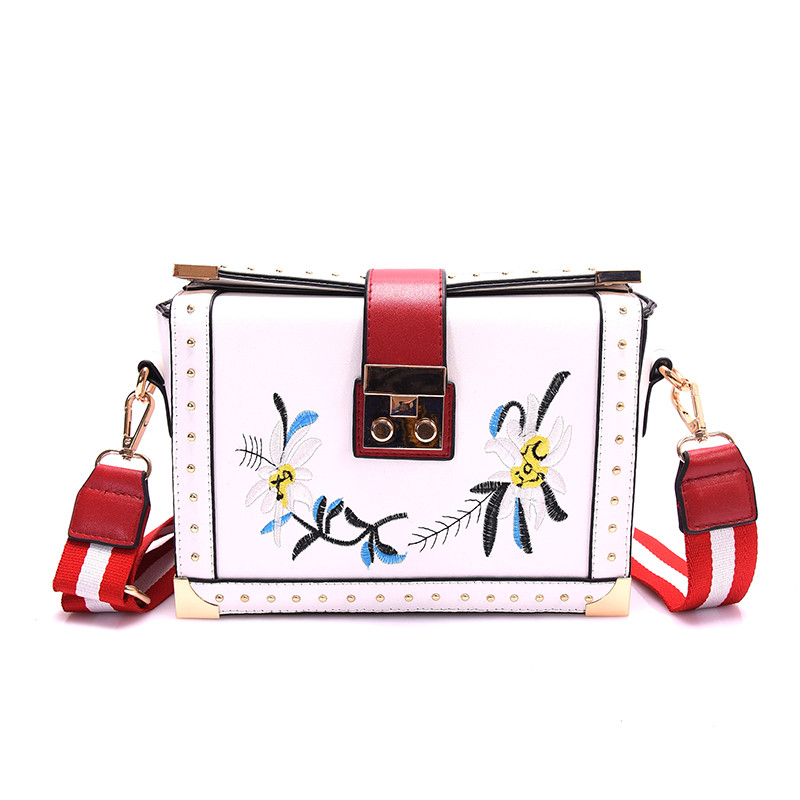 ФОТО High quality fashion design Striped shoulder strap women handbag embroidery flower ladies box bag shoulder messenger bag