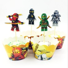 24pcs Masked Ninja Master Phantom Rotation spell Cupcake Wrapper Topper Cake Decoration Cartoon Kids Boy Birthday Party Supplies(China)