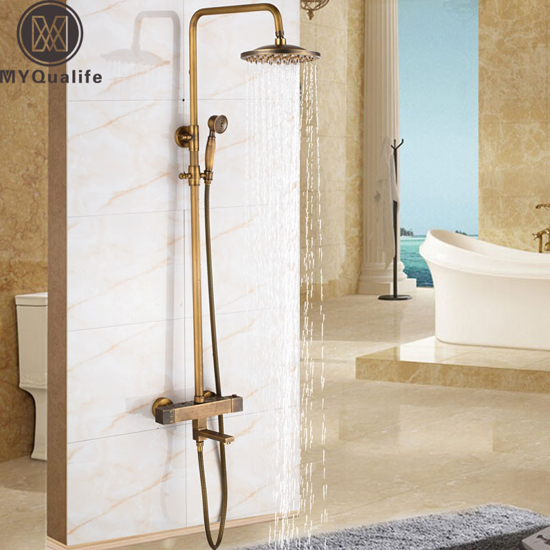 Thermostatic Shower Faucet Set Dual Handle Antique Brass Bath Shower Mixers Kits 8 Rainfall Showerhead with Hand Shower