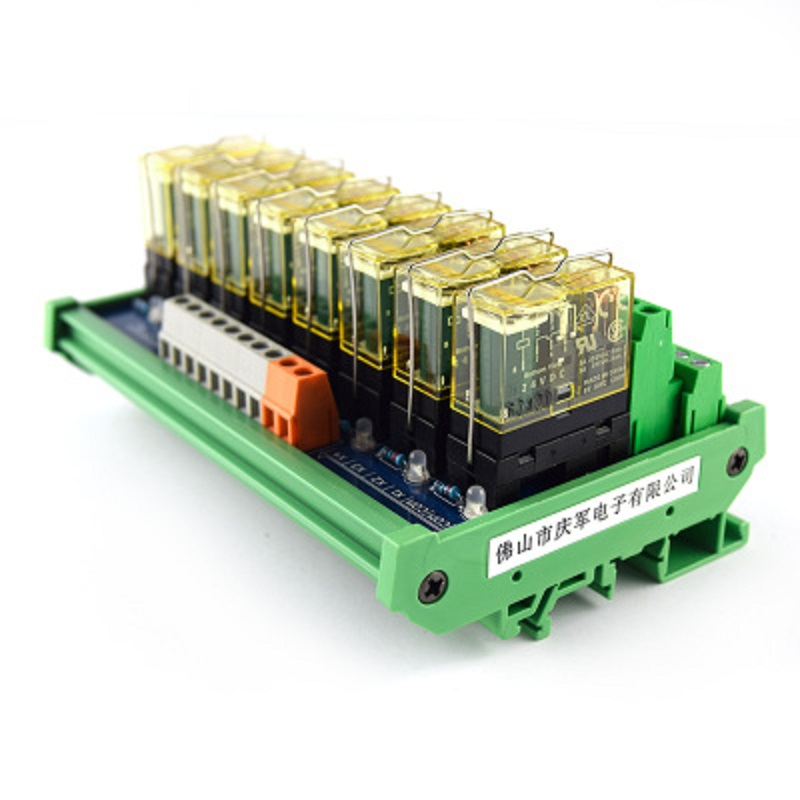 8-way relay dual-group module, 24V rail mounting, PLC amplifier board control board 16 way intermediate relay module plc expansion board belt guide rail high or low trigger 5 12 24v optional
