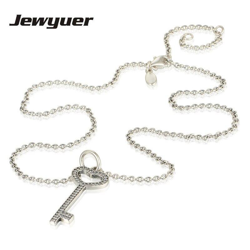 Pendentif clé en argent colliers pour femmes 925 en argent Sterling lien chaîne collier femmes bijoux fins bijoux NC008