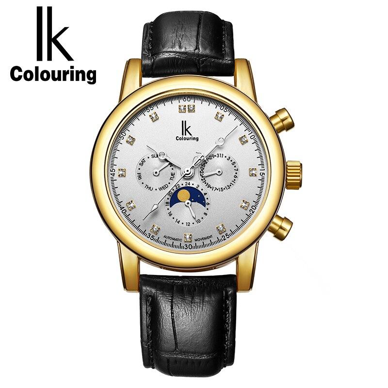 ⑤IK coloring auto fecha lujo Relojes automáticos hombres Cuero ...