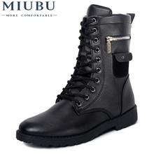 MIUBU High Quality Male Fashion Retro Punk Combat boots Winter England-style Casual shoes Men's mid-calf boot Black size 39-44 стоимость