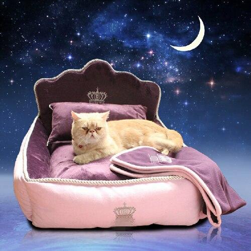 Cama de princesa de lujo para mascotas con almohada manta cama de perro Cama de Gato sofá perro casa nido cojín para dormir mascota envío Gratis-in Casas, jaulas y corrales from Hogar y Mascotas    1