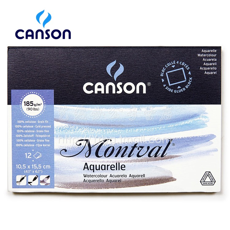 Freeshipping France Canson montval 10.5x15.5cm 180g 12P watercolour Aquarelle  sealing the watercolor paper Postcard 300g