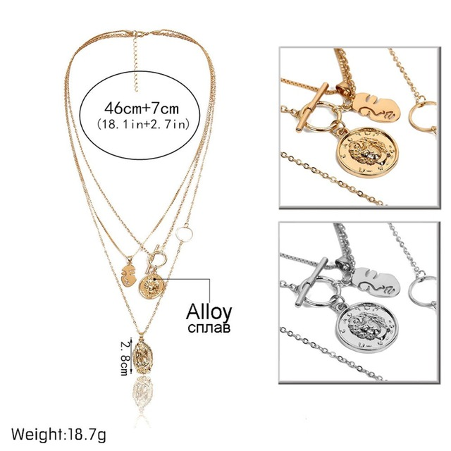 IngeSight.Z Boho Multi Layer Chain Pendant Choker Necklace Portrait Coin Virgin Mary Face Fashion Women Statement Jewelry Female 3