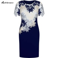 Sheath Round Neck Short Sleeves Royal Blue Mother of the Bride Dress with Lace