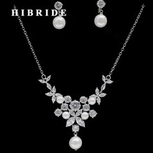 HIBRIDE Elegant Design Factory Price Cubic Zircon And Pearl Women Bridal Jewelry Set For Engagement Gifts Korean Trendy N-242(China)