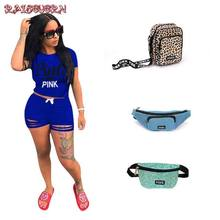 RAISEVERN Summer Two Piece Outfits For Women Tracksuit Ripped 2 Piece Set Hot Letter Print T Shirt Top And Shorts Female Suit(China)