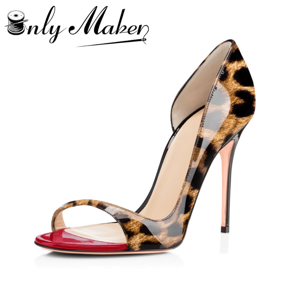 Onlymaker Women's Peep Toe 12cm High Heels Leopard print Pumps Sandals Woman Dress Party Office Slipper Shoes Big Size US5~US15(China)