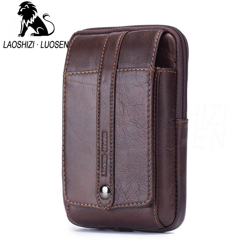 LAOSHIZI Genuine Leather Waist Packs Fanny Pack Belt Bag Phone Pouch Bags Travel Waist Pack Male Small Waist Bag Leather Pouch цена