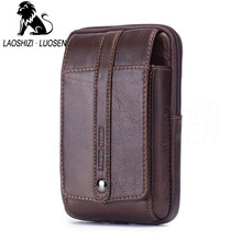 лучшая цена LAOSHIZI  Genuine Leather Waist Packs Fanny Pack Belt Bag Phone Pouch Bags Travel Waist Pack Male Small Waist Bag Leather Pouch