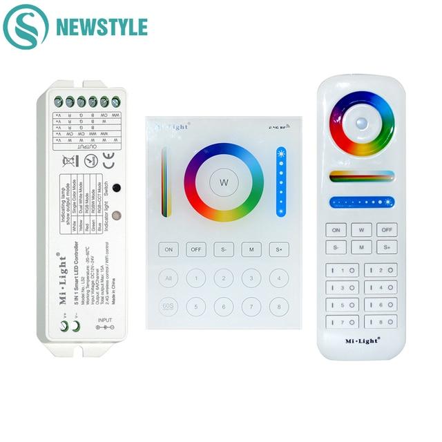 Milight Nirkabel LS2 5IN1 Smart LED Controller B8 Dinding Kontrol Panel Sentuh RGB CCT LED Strip 8 Zona rancangan RF Remote Kontrol