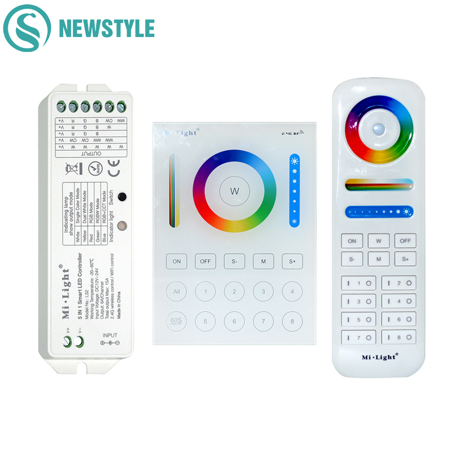 Milight Wireless LS2 5IN1 Controlador LED inteligente B8 Control de panel táctil montado en la pared RGB CCT Tira de LED Controlador remoto RF de 8 zonas