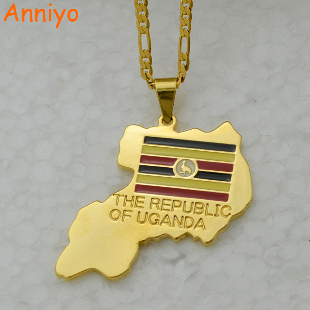 10pcs lot national flag country flag stick flags flag of the united - Anniyo The Republic Of Uganda Map Pendant Necklace Gold Color Jewelry Uganda National Flag 003210