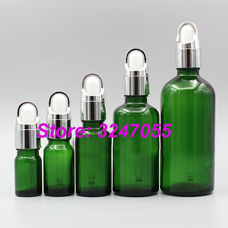 5ml10ml15ml20ml50ml100m Professional Makeup Essential Oil Container,Glass Green Cosmetic Essence Refillable Bottle, Dropper Vial 30 ml clear glass dropper essence oil bottles emulsion cosmetics packing bottle 30 cc of essential oils packaging container